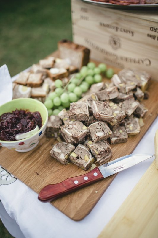Wild game terrine with grapes and cranberry jelly