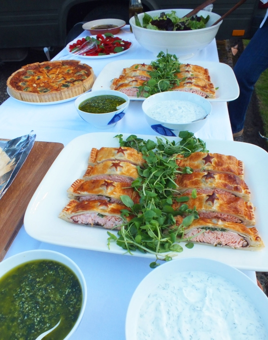 Part of the Buffet Table - We served the Salmon en Croute with two home made sauces - A full bodies Pesto sauce and a cooling yogurt, dill, garlic and lemon zest.YOU can see the Salmon being made by clicking here.