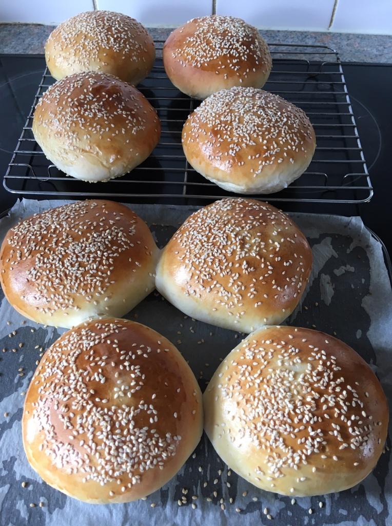 Freshly baked burger buns